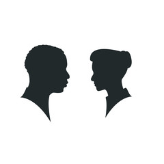 Man and woman silhouette face to face Isolated on white background. silhouette couple in love, kiss moment.