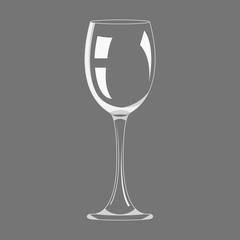 Transparency empty wine glass design icon vector