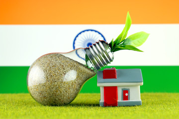 Plant growing inside the light bulb, miniature house on the grass and India Flag. Renewable energy. Electricity prices, energy saving in the household.