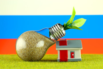Plant growing inside the light bulb, miniature house on the grass and Russia Flag. Renewable energy. Electricity prices, energy saving in the household.