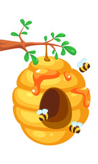 Bee hive on tree cartoon