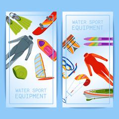 Summer water beach sea sports banners activities vector illustration. Active people watersport windsurfing, surfing, jet ski snorkel, scuba dive, tubing, ride speed boat banana float tools.
