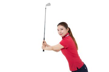 골프 여성 골퍼의 다양한 포즈 누끼 백그라운드 사진