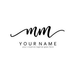 M M Handwriting initial logo template vector