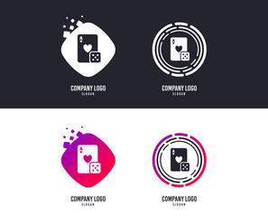 Logotype concept. Casino sign icon. Playing card with dice symbol. Logo design. Colorful buttons with icons. Vector