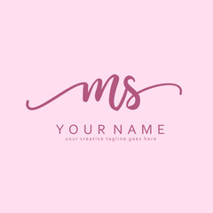 M S Handwriting initial logo template vector