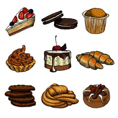 Set of nine pastries and buns on a white background. Freehand drawing. Confectionery menu.