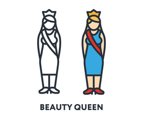 Female Beauty Blond Queen Woman Girl Princess Character Crown Blue Dress. Vector Flat Line Stroke Icon.
