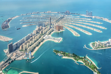 Photo sur Plexiglas Dubai Aerial view of Dubai Palm Jumeirah island, United Arab Emirates
