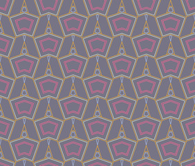 Seamless geometric pattern, background, ornament. Five colors. Useful as design element for texture and artistic compositions.