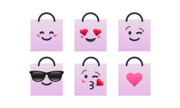 Shopping bags emoticon set. Smile, in love, wink, cool, kiss, heart