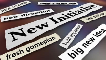 New Initiative Plan Direction Goal Newspaper Headlines 3d Illustration