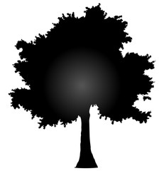 Tree profile silhouette isolated - black gradient detailed - vector