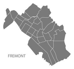 Fremont California city map with neighborhoods grey illustration silhouette shape