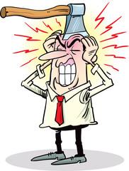 Man complaints about headache