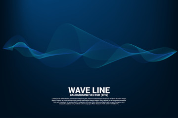 Blue Sound wave line curve on dark background. Element for theme technology futuristic vector