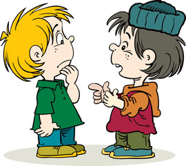 Two boys talking