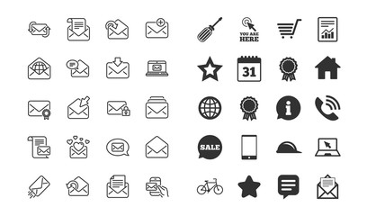 Mail messages line icons. Set of Newsletter, E-mail, Correspondence linear icons. Received mail, Secure message and Web letter symbols. Post office, Send email and Private communication signs. Vector