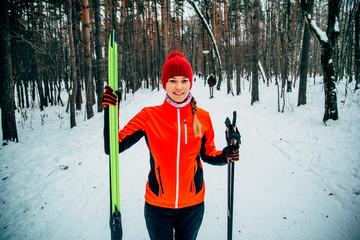 Walk on skis on the wood