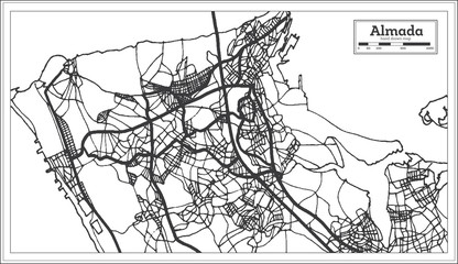 Almada Portugal City Map in Retro Style. Outline Map.