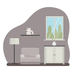 Interior of the living room with furniture. Flat cartoon style. Vector illustration