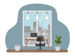 Interior of the office workplace with furniture. Flat cartoon style. Vector illustration