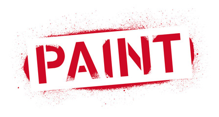 Stencil Paint inscription. Red graffiti print on white background. Vector design street art
