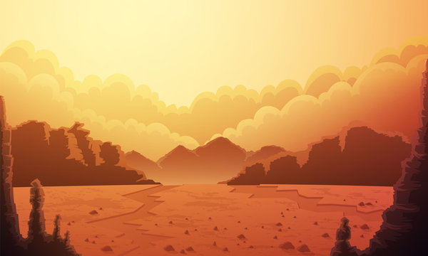 Landscape of vast desertic plain of planet mars. Orange sky with clouds, red rocks and mountains at horizon. Vector illustration.