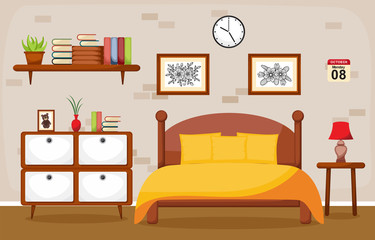 Bedroom Interior Sleeping Room Flat Design Illustration