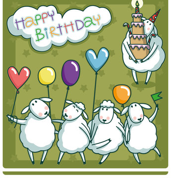 Birthday card design with a very cute sheep and balloons