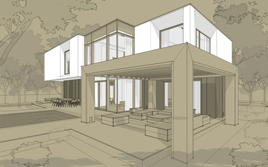 3d rendering sketch of modern cozy house in garden with garage for sale or rent. Black line sketch with white spot and hand drawing entourage on craft background.