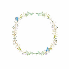 Floral watercolor frame of wildflowers and blue butterflies in vintage style for the design of invitation cards, for Easter and other decor.