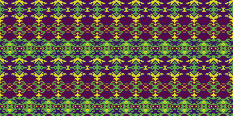 Horizontal seamless pattern tribal design. Ethnic textile print. Vector fashion background.