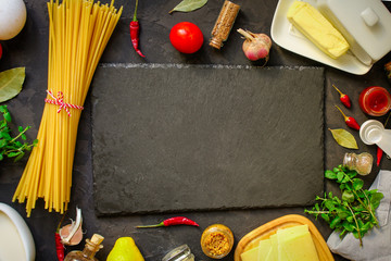 pasta, long, Spaghetti or Bucatini (ingredients for pasta and sauce) set of ingredients. food background. copy space