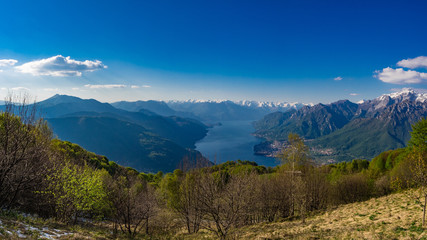 Lake Como and surrounding mountains as seen from hiking trail to Corni di Canzo