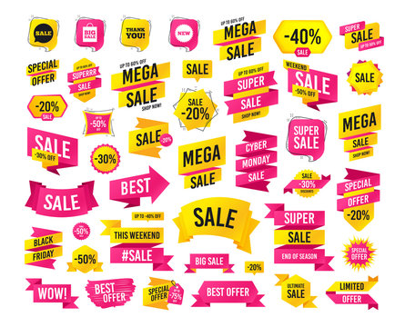 Sales banner. Super mega discounts. Sale speech bubble icon. Thank you symbol. New star circle sign. Big sale shopping bag. Black friday. Cyber monday. Vector