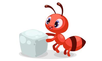 Cute ant with sugar cube cartoon