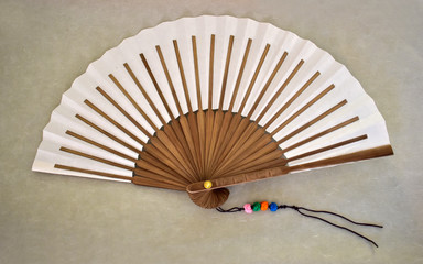 A fan with spokes made of double slips of bamboo