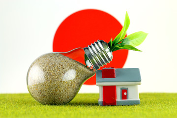 Plant growing inside the light bulb, miniature house on the grass and Japan Flag. Renewable energy. Electricity prices, energy saving in the household.