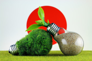 Green eco light bulb with grass, plant growing inside the light bulb, and Japan Flag. Renewable energy. Electricity prices, energy saving in the household.