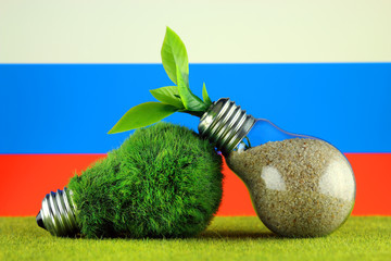 Green eco light bulb with grass, plant growing inside the light bulb, and Russia Flag. Renewable energy. Electricity prices, energy saving in the household.