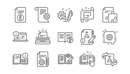 Technical documentation line icons. Instruction, Plan and Manual. Algorithm linear icon set.  Vector