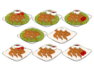 Collection of  objects. different design dishes, with lettuce, tomatoes, sauce, chili and rosemary. Hand drawn. Fast food. Can be used for menus, packaging, advertisements. Isolated image.