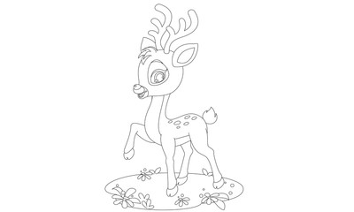 Cute baby deer in pose drawing to color