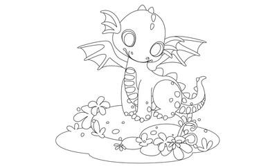 Cute baby dragon cartoon drawing to color