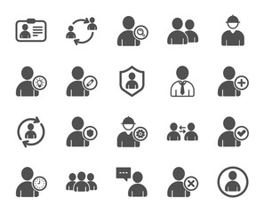 Users icons. Profile, Group of people and Support signs. ID card, Teamwork people and Businessman user symbols. Person talk, Engineer profile and Human Management. Job support. Quality design element