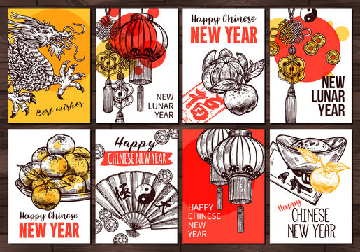 Sketch vector collection of cards for Chinese new lunar year. Hand drawn greeting design with symbol of prosperity, luck and wealth. Chinese dragon, paper lanterns, gold ingot, coins, mandarins