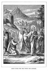 Jesus cures the man with the leprosy