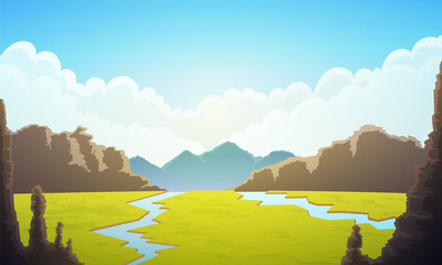 Landscape of vast plain of green grass. Blue sky with clouds, rivers and mountains at horizon. Vector illustration. Wall mural