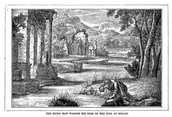 The blind man washes his eyes inthe pool of Siloam